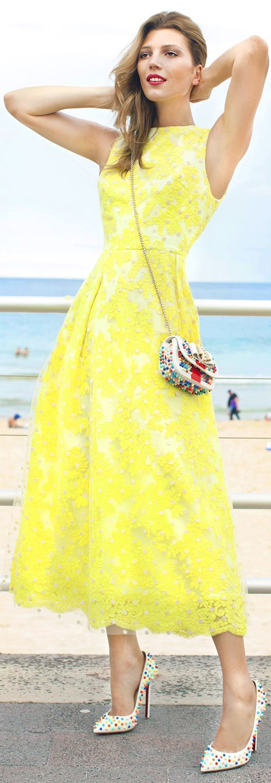 Toni Maticevski Neon Yellow Lace Maxi Skirt And Bustier