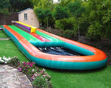 inflatable double slip and slide with pool!