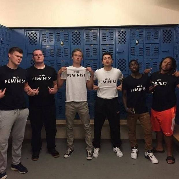 "Male students at Centennial High School in Oregon protesting ""locker room talk""."