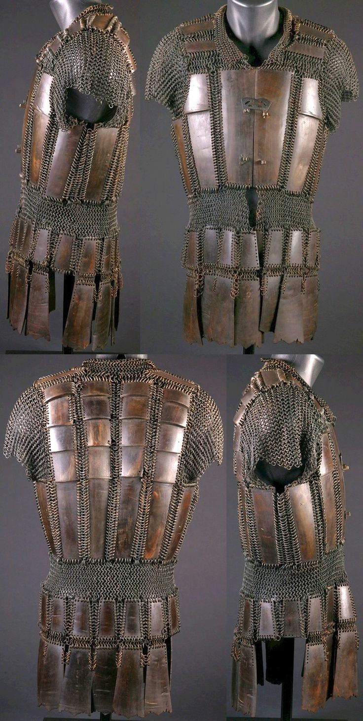 Moro (Philippine, Mindanao) mail and plate armor, 19th century, brass, carabao horn (Philippine buffalo), silver, protection for the upper part of the body, exclusive to the Moro as it was not found among any other Philippine groups. This armor known as kurab-a-kulang is made of a thin layer of carabao horn, joined with butted brass mail.The front part is closed with hooks.