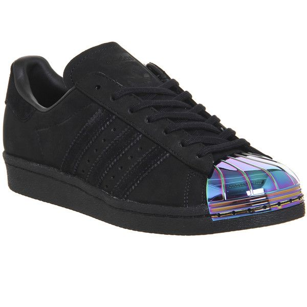 Adidas Superstar 80's Metal Toe W ($125) ❤ liked on Polyvore featuring shoes, sneakers, black petrol, hers trainers, trainers, striped shoes, stripe shoes, kohl shoes, 80s sneakers and adidas shoes