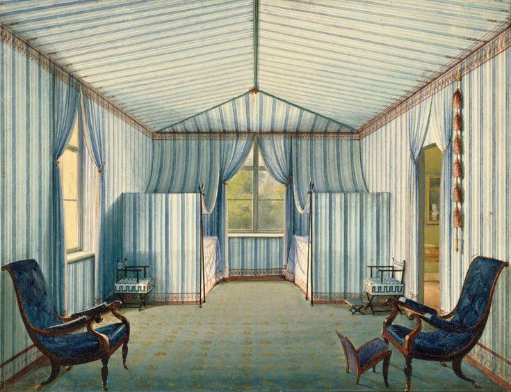 Unknown artist, Tent room, Castle Charlottenhof, 1835. Berlin. Exhibit Karl Friedrich Schinkel – Kunsthalle München