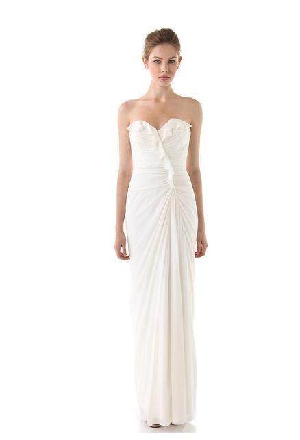 Cute Wedding Dress With Ruffled Front