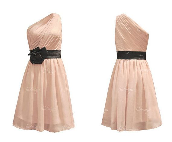 short bridesmaid dress pink dress bridesmaid chiffon by fitdesign, $94.00 I'm thinking charcoal gray with a mint sash?