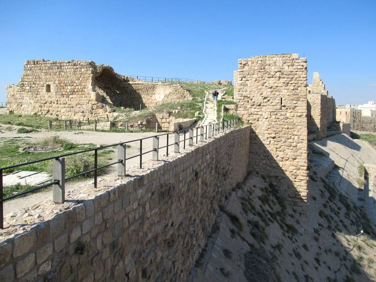 The east wall and upper court of Karak Castle, 125 kilometers south of Amman, Jordan, were built by Crusaders in the 12th century.