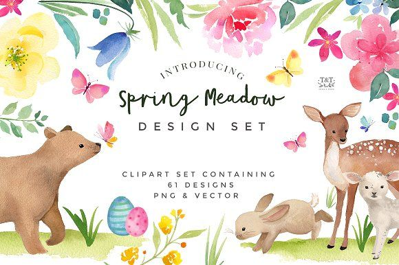Spring Flower and Animal Graphic Set by Twigs and Twine on @creativemarket