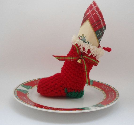 Christmas Table Decoration christmas stocking by CRAZYBOOM on Etsy