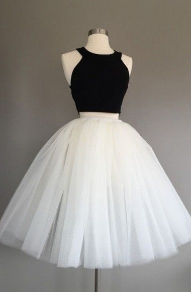 Two Piece Halter Knee-Length Sleeveless Ivory Tulle Homecoming Dress