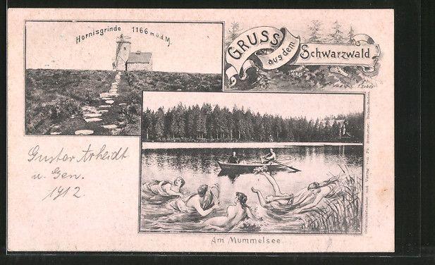 Alte Ansichtskarte: AK Hornisgrinde, Blick zum Aussichtsturm, Meerjungfrauen baden im Mummelsee, Ruderboot