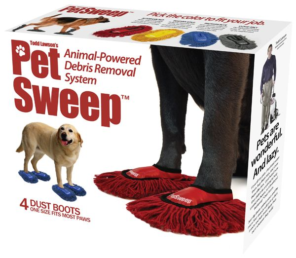 floor-sweeping-dog-shoes----LOL....OMGosh these are awesome!!!!! But my dogs.... especially the older one would be going insane trying to get them off!!! Oh what fun!!! LOL