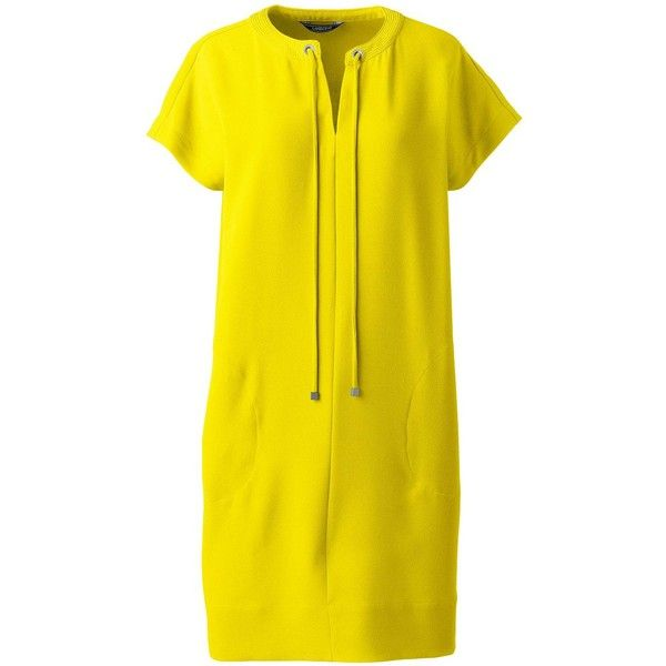 Lands' End Women's Petite Short Sleeve Woven Slit Neck Tee Dress ($65) ❤ liked on Polyvore featuring dresses, yellow, yellow dress, stitching dresses, collar dress, lands end dresses and slouch dress