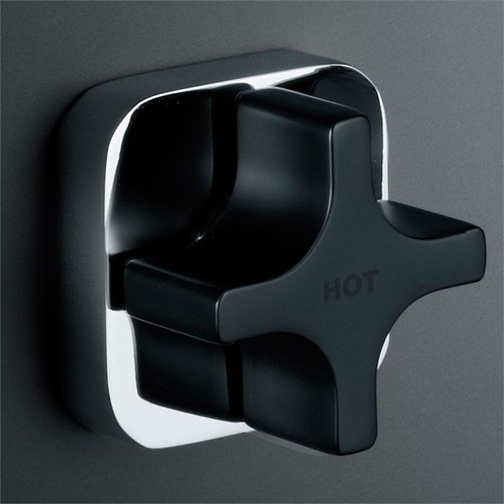 Dorf Myriad Cross Black Handle Square Flange Wall Top Assemblies
