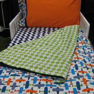 Modern Toddler Airplanes Bedding Set  (fitted sheet, top sheet, duvet cover, standard pillow case) $319.00 FREE SHIPPING (Canada & US)