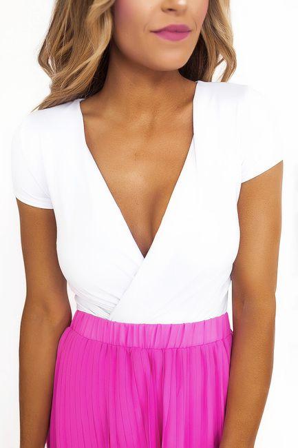 White Wrap Front Bodysuit
