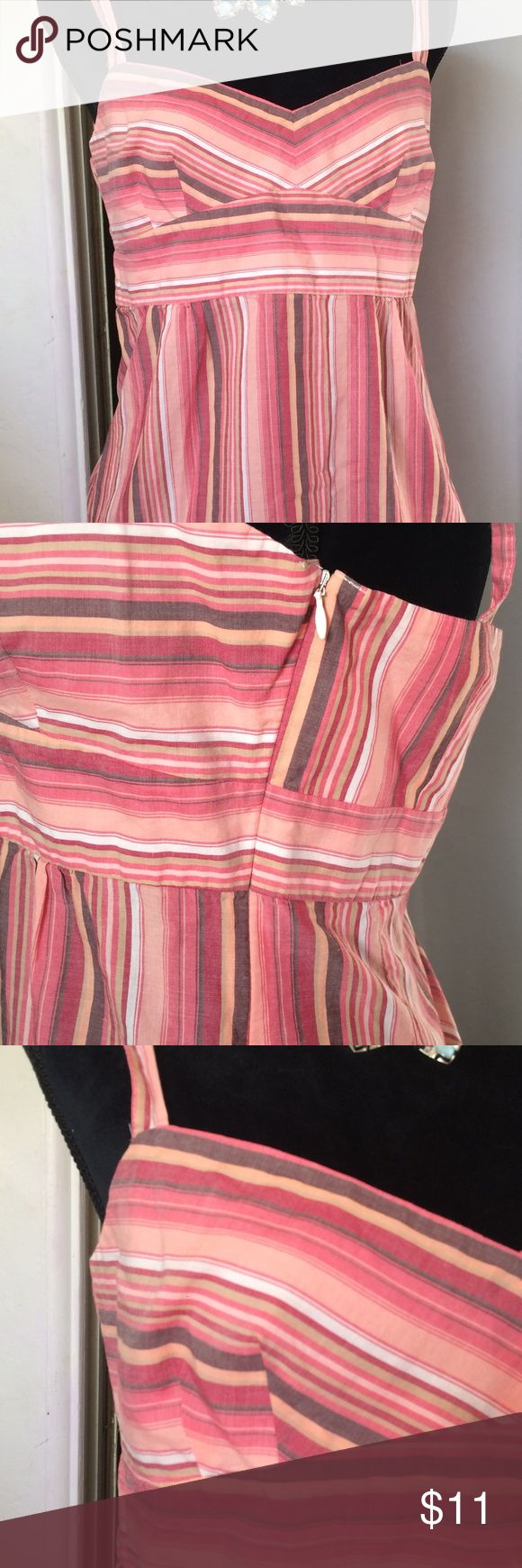 Ann Taylor Loft striped summer top size 8 This is a really cute Ann Taylor loft top it's made of 100% cotton it's got spaghetti straps cute striped bought is in vertical striped bottom part, it has a hidden zipper on the side and The bodice is lined. Size 8  machine washable anne taylor loft Tops Camisoles