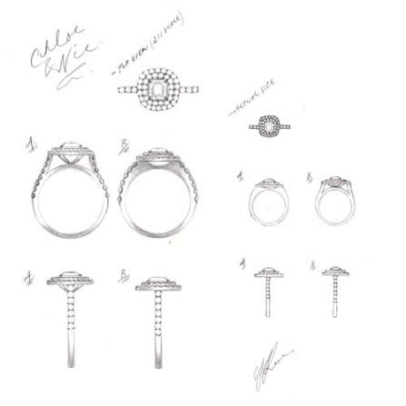 Sally Rose White Label Matthews diamond ring sketch. A handcrafted Double diamond halo engagement ring, with central cushion cut diamonds, scalloped claw set halos and diamond shoulders.