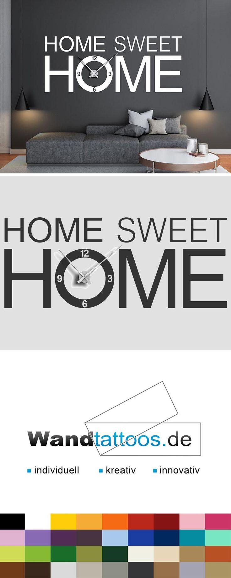 Wandtattoo Uhr Sweet home als Idee zur individuellen Wandgestaltung. Einfach Lieblingsfarbe und Größe auswählen. Weitere kreative Anregungen von Wandtattoos.de hier entdecken!