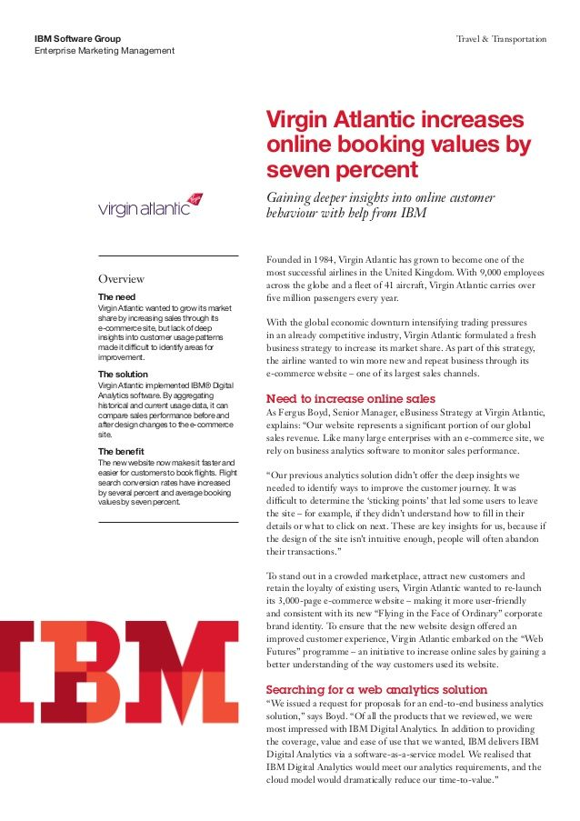 Virgin Atlantic increases online booking values by seven percent ... Gaining deeper insights into online customer behaviour with help from IBM