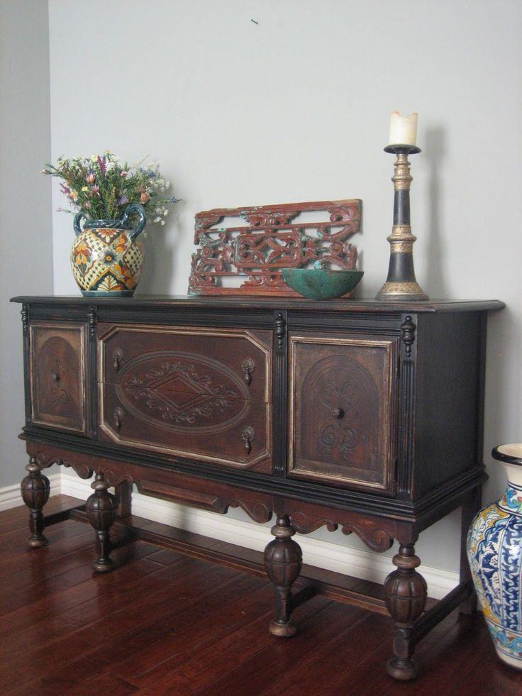Sold old World Antique Sideboard In A Two Toned