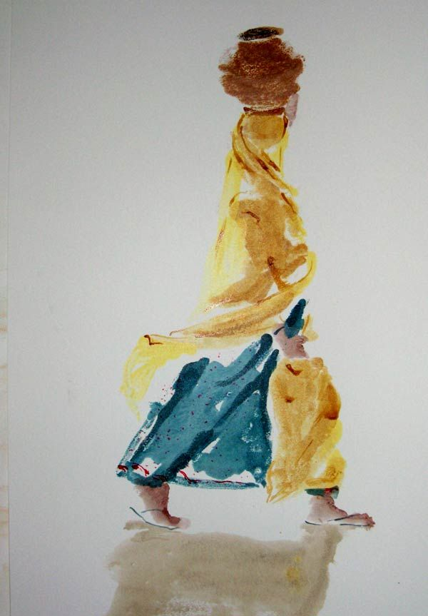 'water bearer' one of the paintings from the Rajasthani Series inspired by my visit to India.
