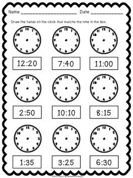 TELLING TIME WORKSHEET PACK & CENTER/GAME {PRINTER FRIENDLY} - http://TeachersPayTeachers.com