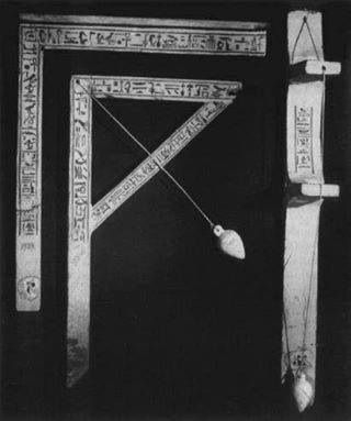 A plumb, a square, and a square level from the tomb of Senedjem at Deir el-Medineh/Cairo/Egypt.