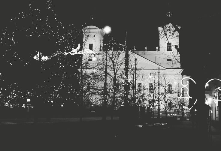 Reformed Great Church of Debrecen by night