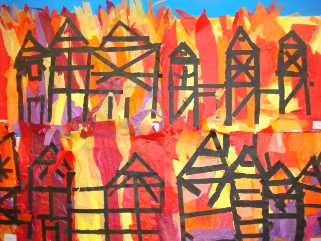Great Fire of London primary school artwork