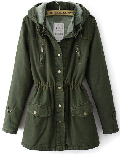 Army Green Hooded Long Sleeve Pockets Denim Coat