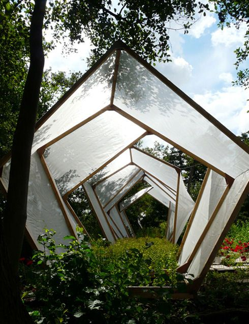 Floating greenhouse structure.
