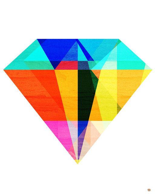 Jewel Tone II, (Geometric Diamond Shaped Stone) Art Print