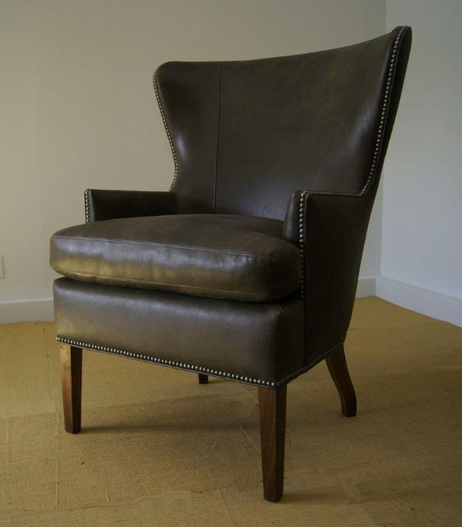 Distressed Leather Wing Chair