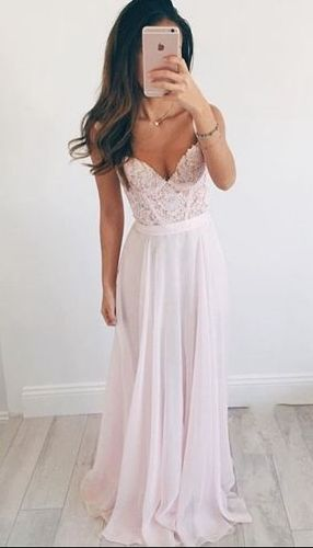 Chiffon A-Line Prom Dress,Long Evening Dress,Lace Prom Dress ,Charming Prom Dress