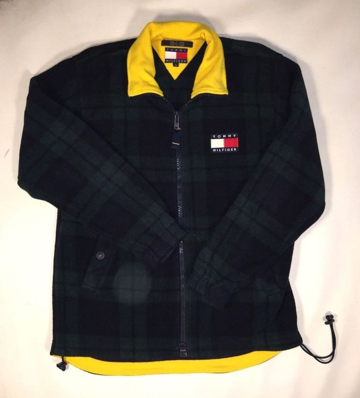 Vintage Tommy Hilfiger Full Double Zip Fleece Plaid Jacket SZ S | Clothing, Shoes & Accessories, Men's Clothing, Coats & Jackets | eBay!