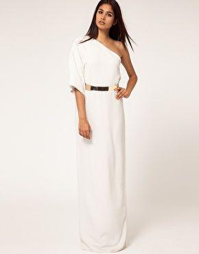 Aqua Maxi dress Kimono: Kimonos Dresses, Gold Belts, Asos, Kimonos Maxi, Metals Belts, Maxidress, One Shoulder, White Maxi Dresses, Aqua Kimonos