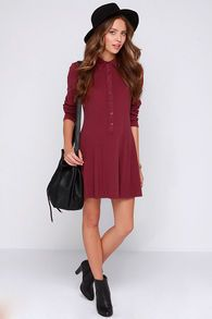 Wine Red Long Sleeve Pleated Dress