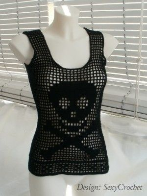 Sexy skull tank... has a chart for the skull but no real pattern.  Not so hard to figure it out though
