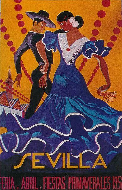 Sevilla, Feria de Abril, 1952 Spanish Flamenco Poster