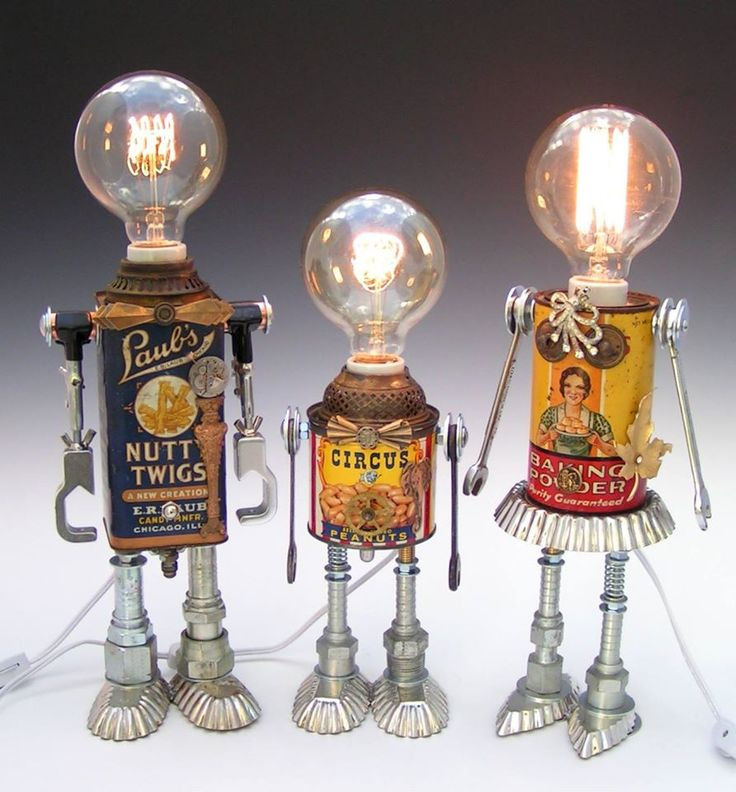 tin can robot lights- so cute!