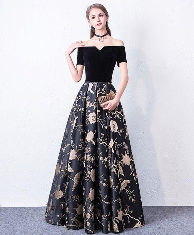 541d0f0c7b1 Black off shoulder long prom dress