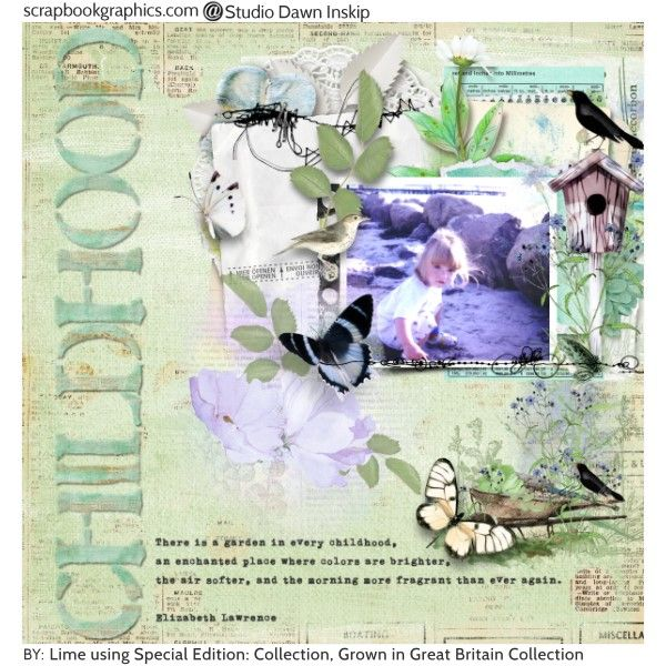 Childhood Credits: Special Edition Collection 7 by Dawn Inskip and Grown In Great Britain Collection {Collab With G & T Designs} By Dawn Inskip.