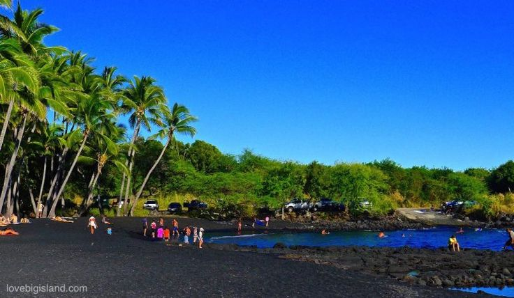 Punalu'u black sand beach, Hawaii