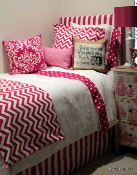 Design Your Own Dorm Room: Hot Pink Chevron Dorm Room Bedding Www.decor-2-ur-door.com
