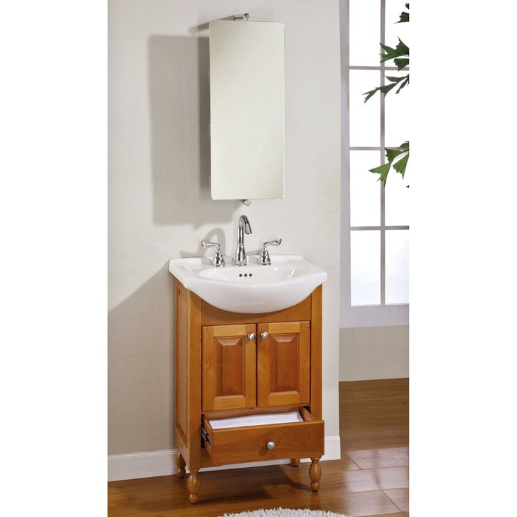 The Art Gallery  Inch Single Sink Narrow Depth Furniture Bathroom Vanity with Choice of Finish and Sink