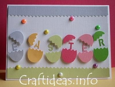 handmade Easter card ... row of die cut colored eggs breaking open with the letters of Easter ... cute idea ...