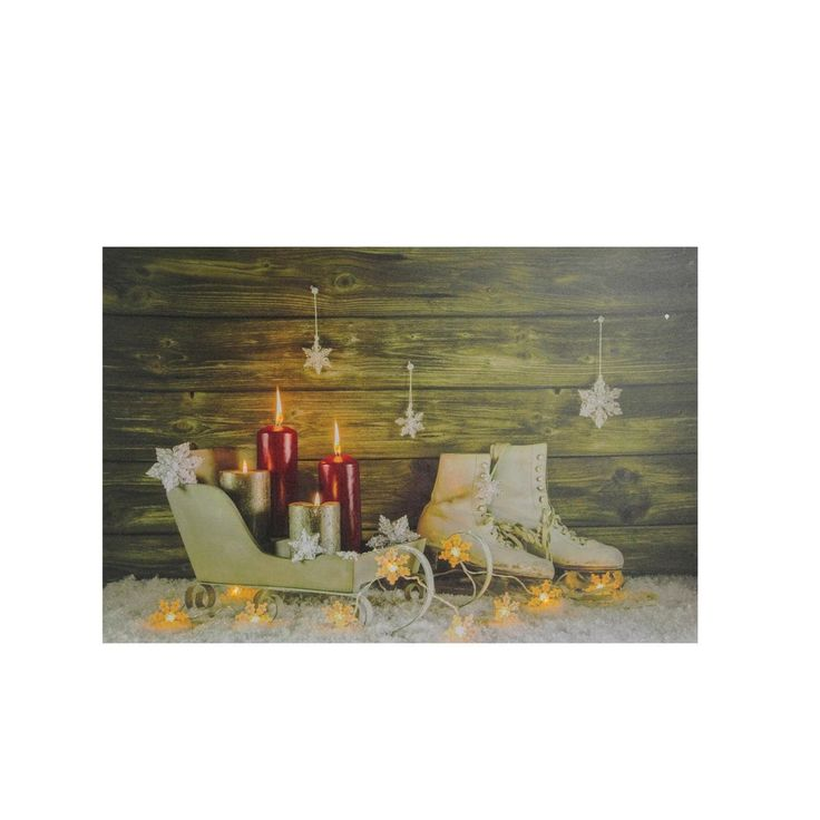 """Small LED Lighted Candles Ice (White) Skates and Sleigh Christmas Canvas Wall Art 12"""" x 15.75"""""""