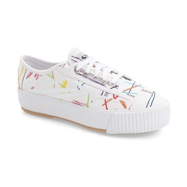 Feiyue. 'Fe Lo' Platform Sneaker (€63) ❤ liked on Polyvore featuring shoes, sneakers, white multi scribble print, lacing sneakers, lace up sneakers, retro shoes, canvas sneakers and canvas platform sneakers