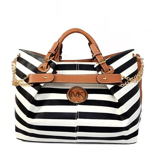 Michael Kors Striped Logo Large Black White Totes Are High Quality And Cheap Price!