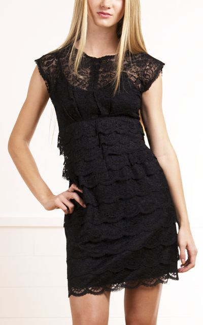 Black lace tiered dress