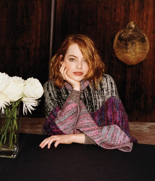 Emma Stone in Wall Street Journal magazine in a The Elder Statesman cashmere blanket scarf.